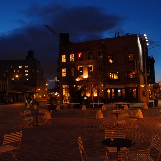 Night image of the West Village.