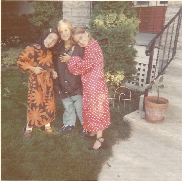 Carrie, Jessie and Jennie dressed up Oct. 1973